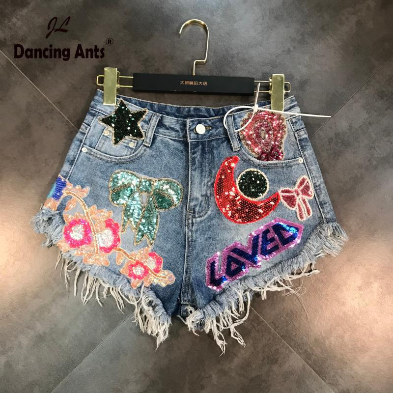 Woman Shorts High Waist Loose Wide-leg Shorts Style Cartoon Moon Star Patchwork Embroidery-Flares Hole Casual Female Short