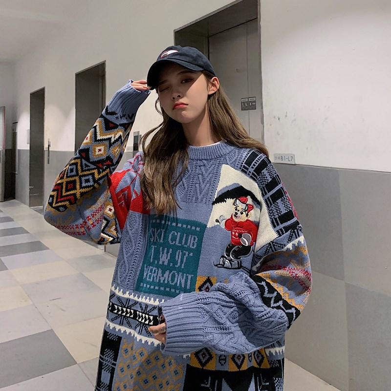 Women Sweater Autumn Winter Vintage Keep Warm Sweater Fashion O-Neck Full Thick Pullovers Couple Sweater 8