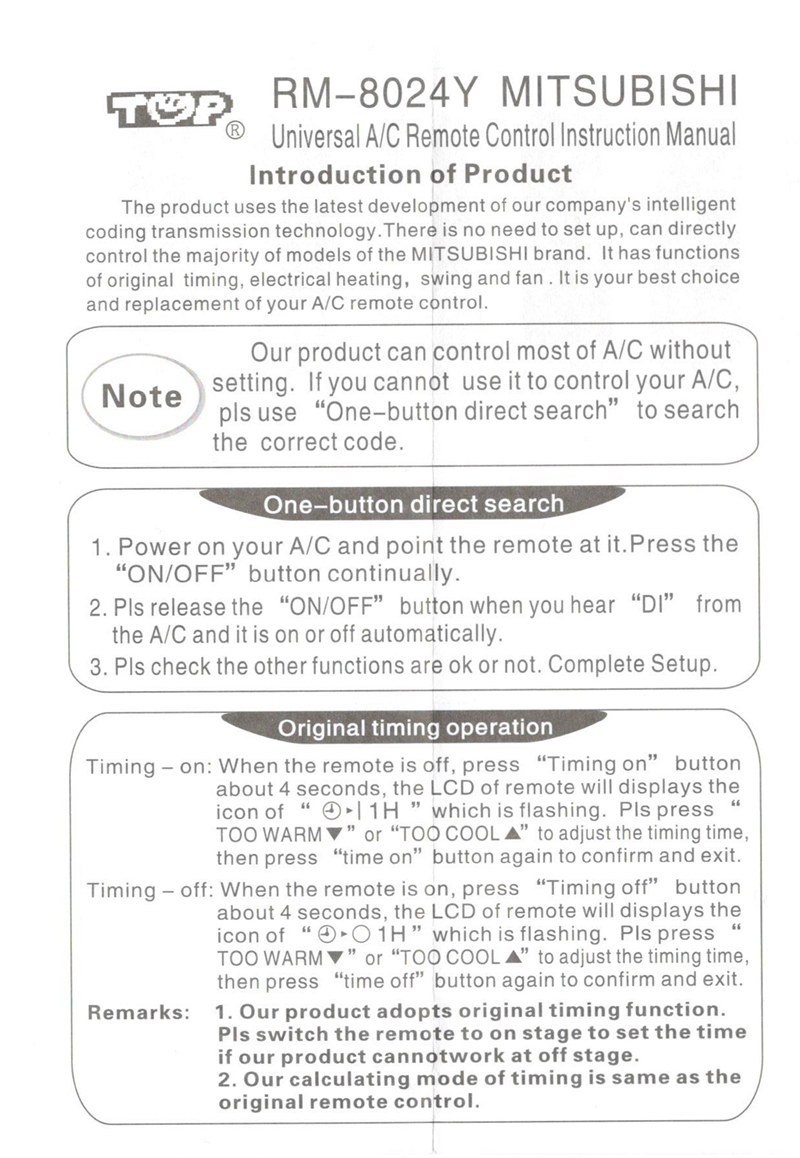 universal Air Conditioner remote control for mitsubishi air conditioning  all model MUZ-A09YV KM06E MSH-18RV