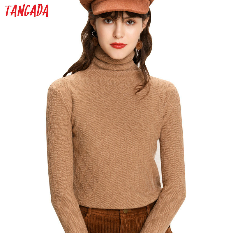 Tangada Winter 2019 Fashion Women Geometry Pattern Knit Sweater Turtleneck Long   Sleeve Slim Khaki Black Soft PulloverAQJ09