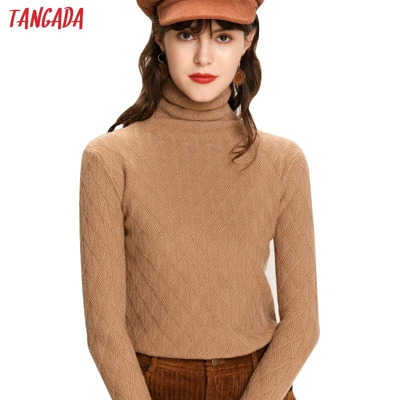 Tangada Winter 2019 Fashion Women Geometry Pattern Knit Sweater Turtleneck Long   Sleeve Slim Khaki Black Soft PulloverAQJ09
