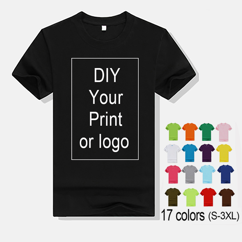 Custom Print T-shirt For Men And Women DIY Your Own Design Logo/Photo/Text Company Team Printing Apparel Advertising T Shirt