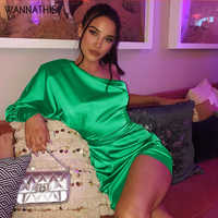 WannaThis vert une épaule robes en soie à manches longues dos nu mode Club Mini robes ruché extensible dame Satin Mini robes