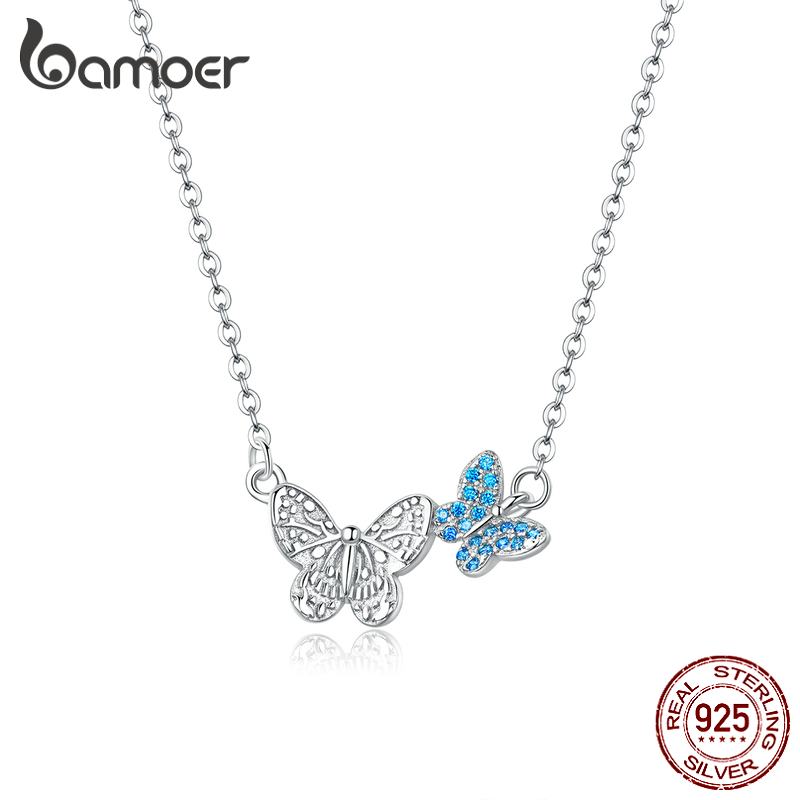 Bamoer 100% Pure 925 Sterling Silver Flying Butterfly Short Necklace For Women Korean Style Fashion Jewelry 2020 Mode SCN384