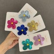 Корейская версия лета новый кожаный большой цветок шпилька для детей милый цвет BB клип Ювелирные украшения для волос