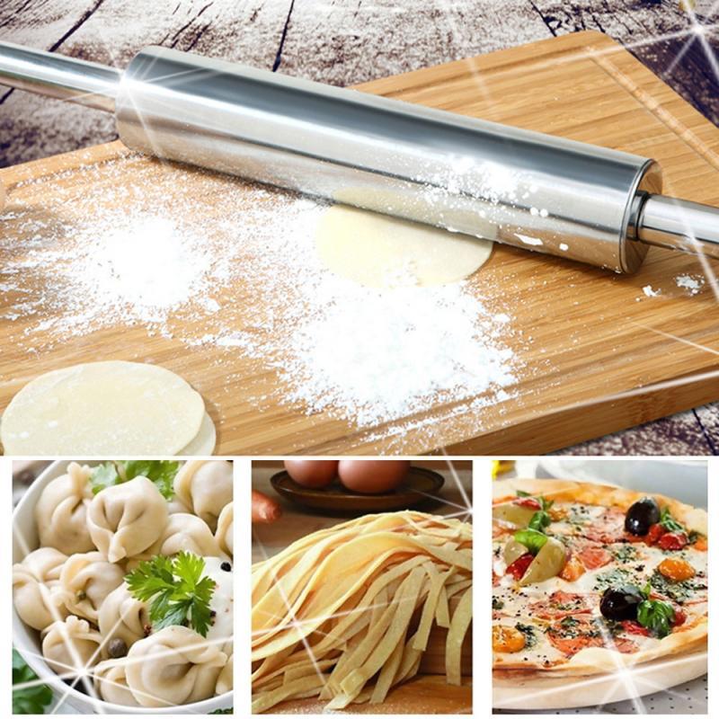 Rolo de massa de massa de massa de massa de massa de massa de massa de rolo de aço inoxidável assar pizza macarrão torta de biscoito que faz ferramentas de cozimento ferramenta de cozinha 4 tamanhos