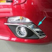 Dla Mazda 3 BM Axela 2014 2015 2016 Chrome przednia mgła wykończenie pokrywy lampy oświetleniowej Foglight garnitur Strip zderzak brwi powieki odlewnictwo