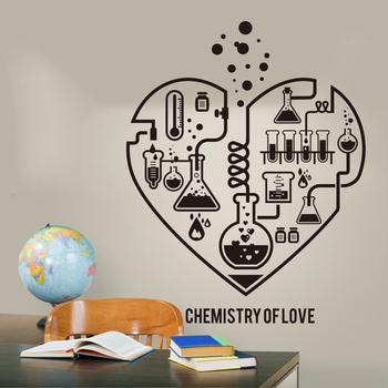 Nowy projekt chemia nauka streszczenie w kształcie serca na ścianę naklejka laboratorium klasie Geek chemia tapeta z plakatem LW101 tanie i dobre opinie YOYOYU ART HOME DECOR Jednoczęściowy pakiet Naklejka ścienna samolot Nowoczesne Do lodówki Dla gabinetu kuchenka Do płytek