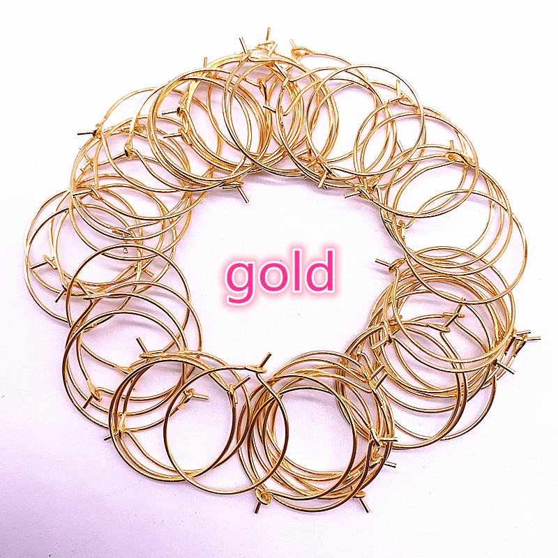 DIY 30pcs/lot 20 25 30 35mm Silver Gold Plating Hoops Earrings Big Circle Ear Wire Hoops Earrings Wires For Jewelry Making
