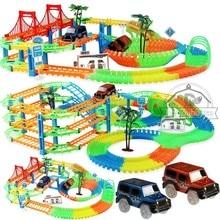 Trilha mágica estrada de ferro mágica corrida pista jogo conjunto educacional curva flexível pista de corrida eletrônico flash luz carro brinquedos para crianças