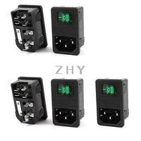 AC 250V 10A IEC 320 C14 Inlet Socket w Fuse w Green Light Rocker Switch 5Pcs|Connectors| |  -