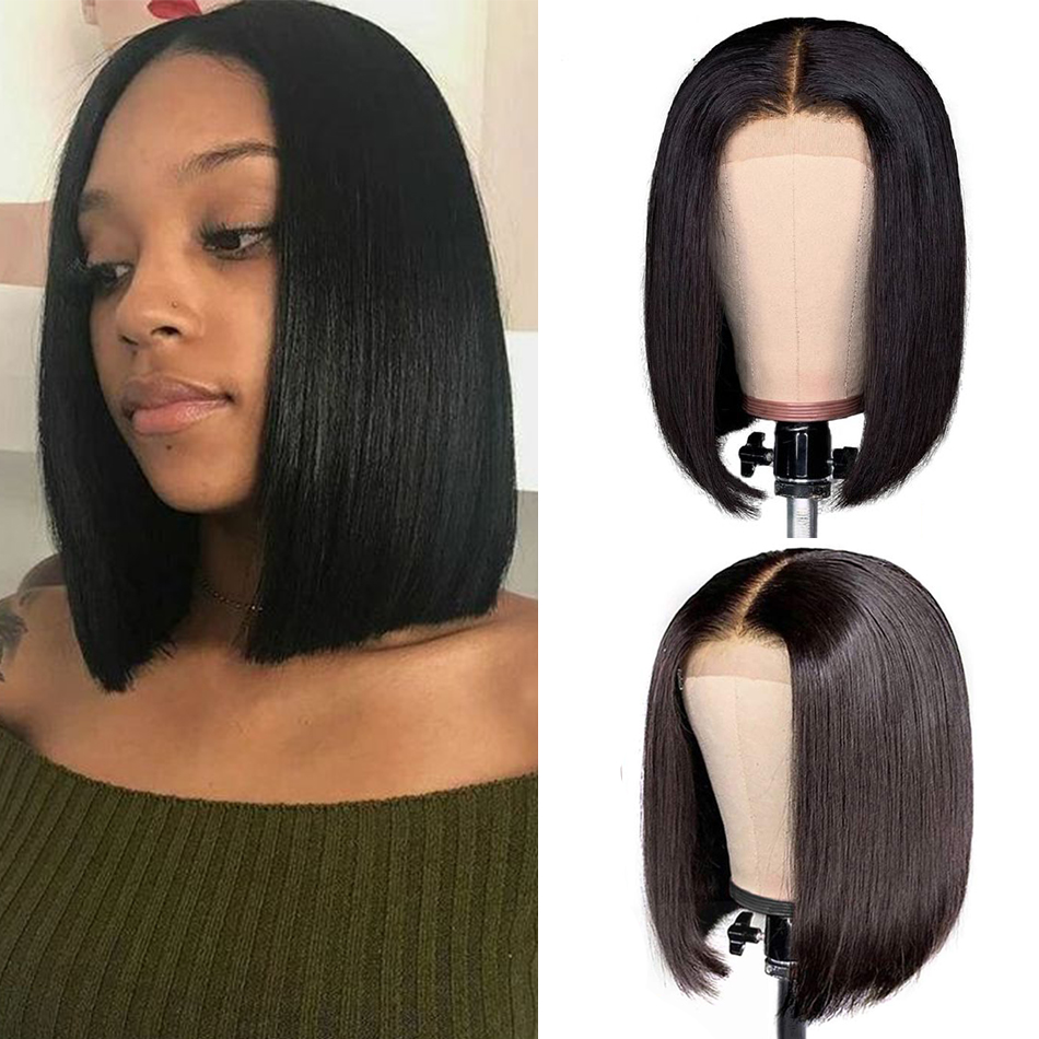 Liddy 4x4 Short Bob Wigs Straight Brazilian Lace Front Human Hair Wigs 100% Human Hair Wigs Natural Color Non-remy Wigs
