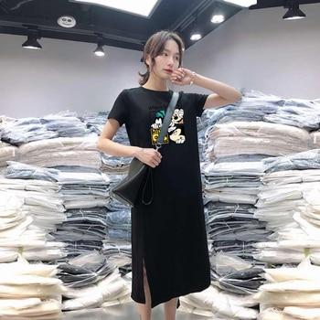 Summer Cartoon women dress short sleeve printed O-Neck Medium long black Plus Size dresses Female Casual clothes 2019 vestidos 3