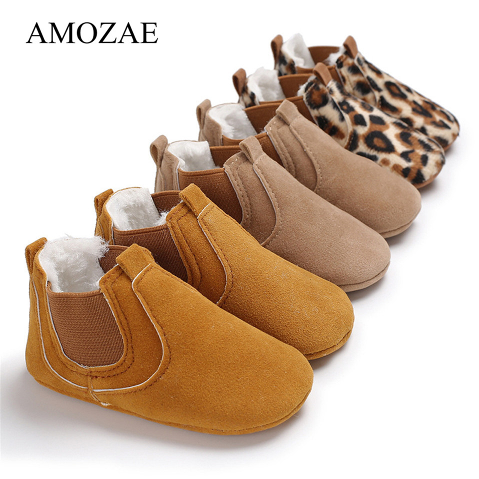 Newborn Baby Shoes Girls Boys Soft Warm Leather Prewalker Anti-slip Shoes Canvas Sports Sneakers Moccasins Footwear Shoes