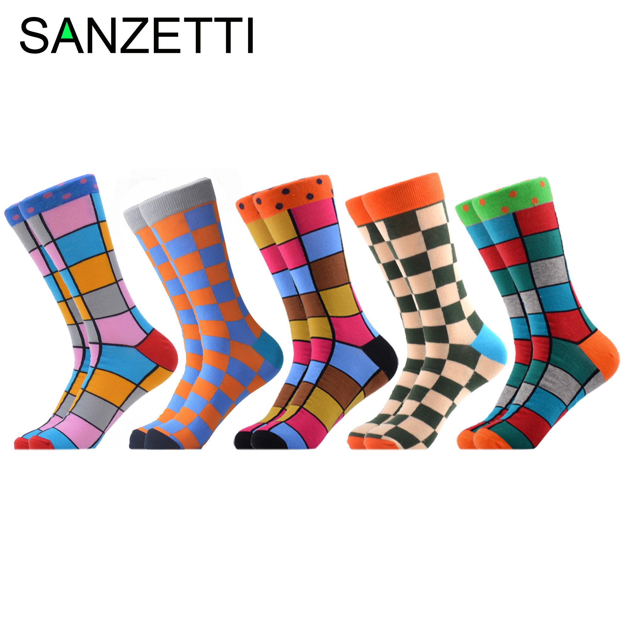 SANZETTI 5 Pairs/Lot Men's Casual Combed Cotton Happy Crew Socks Personality Funny Fashion Party Gifts Creative Dress Socks