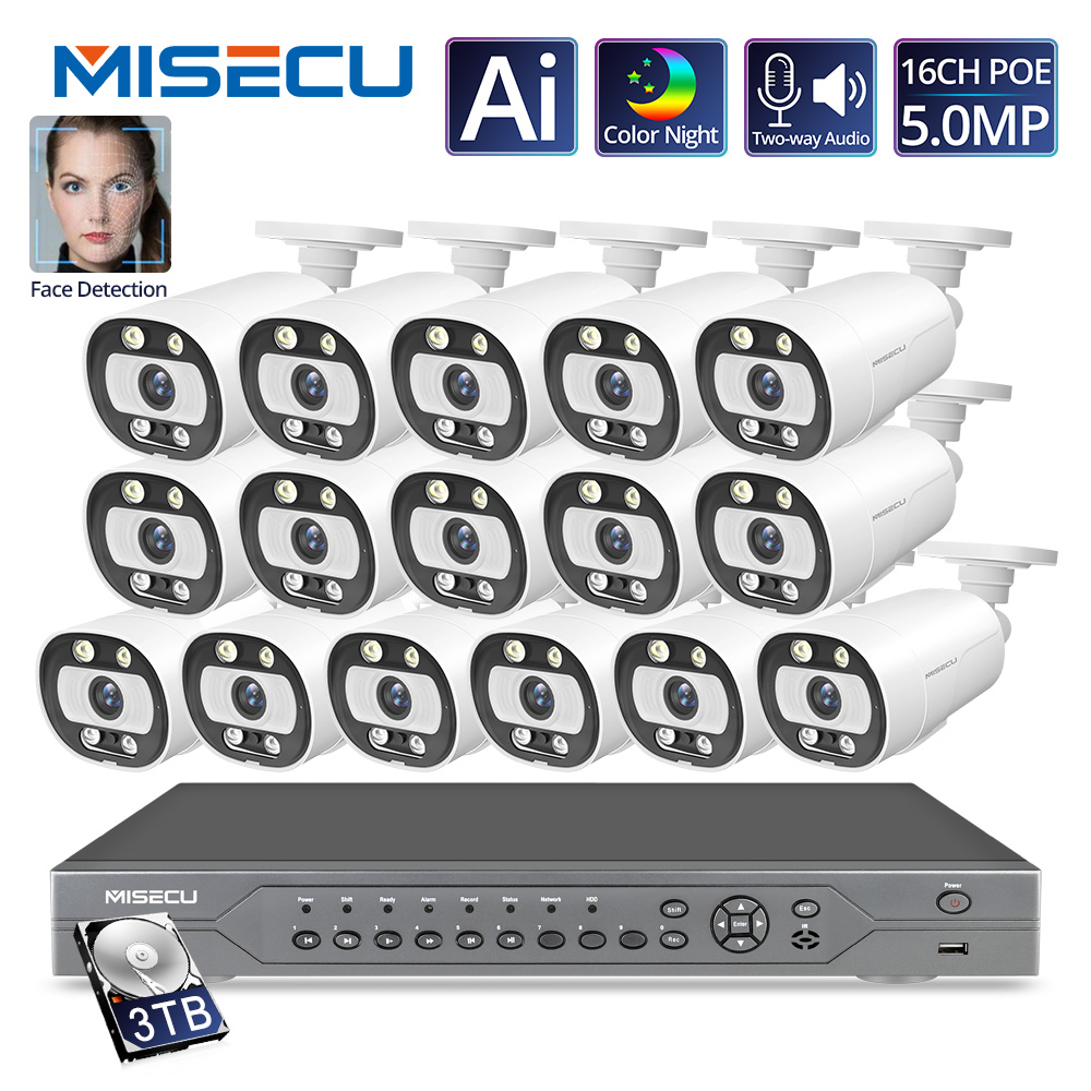 MISECU Ai Smart 5MP System 16CH POE CCTV Security NVR Kit Human/Face Detect Two Way Audio Outdoor IP Camera Surveillance System