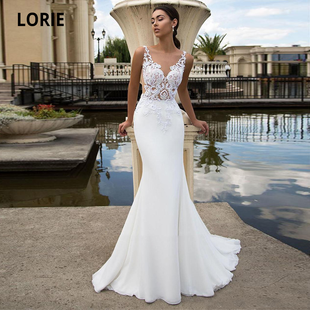 LORIE 2020 New Chiffon Mermaid Wedding Dresses Beach Sleeveless Back Illusion Lace Bridal Gown Princess Wedding Party Gowns