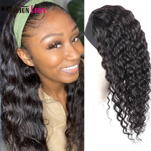 Headband Wig Human-Hair Real-Look Deep-Wave-Wig Black Women for Glueless Easy-To-Wear