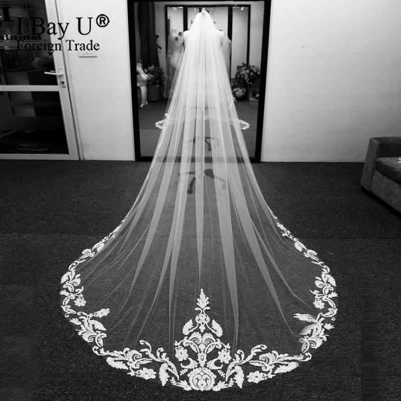 Customized Lace Veil Handmade Cathedra Length Veil White Ivory Veil For Bridal Appliques Lace Edge Wedding Accessary