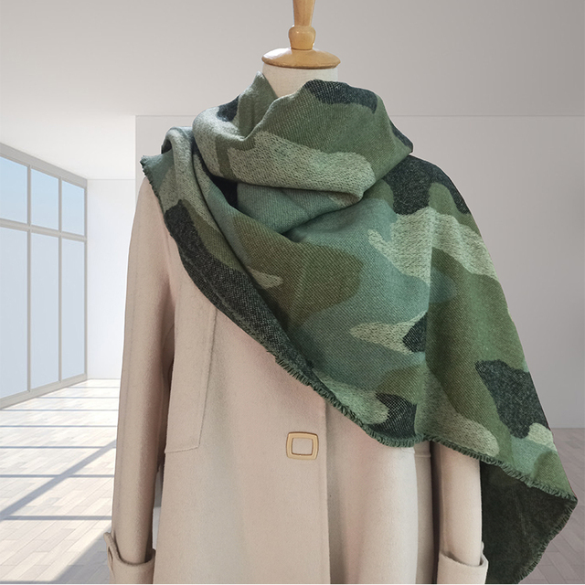 2020 Leopard Scarf Winter Green Women Warm Cashmere Fashion Casual Thickened Wool Collar Scarves and Shawls Long Ladies Poncho 2