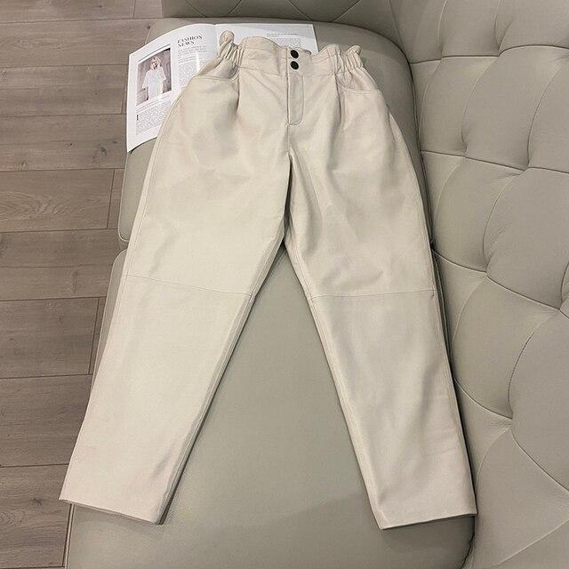 Genuine leather pants women winter 2020 new fashion elastic high waist pants women plus size  harem pants casual trouser female 6