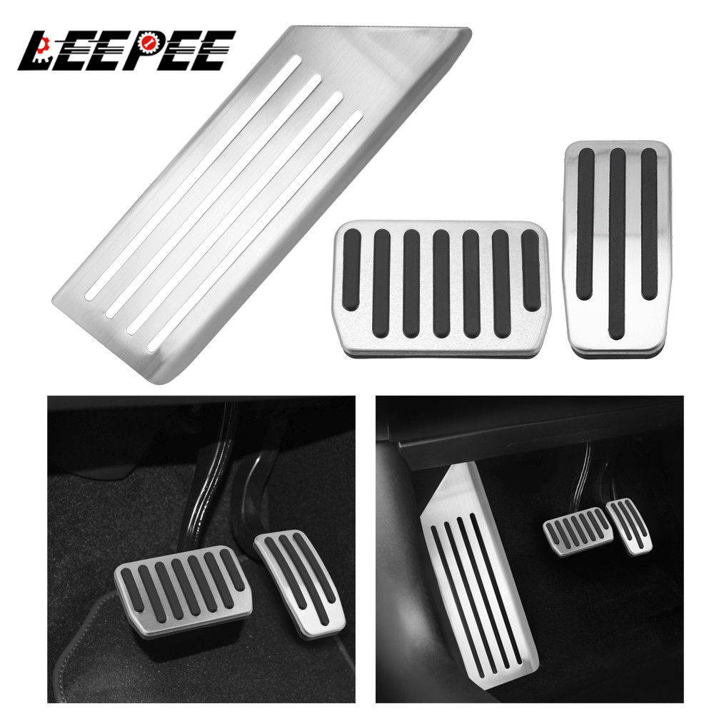 LEEPEE Accelerator Gas Fuel Brake Pedal Rest Pedal Pads Cover Aluminum alloy Foot Pedal For Tesla Model 3 Auto Interior Parts