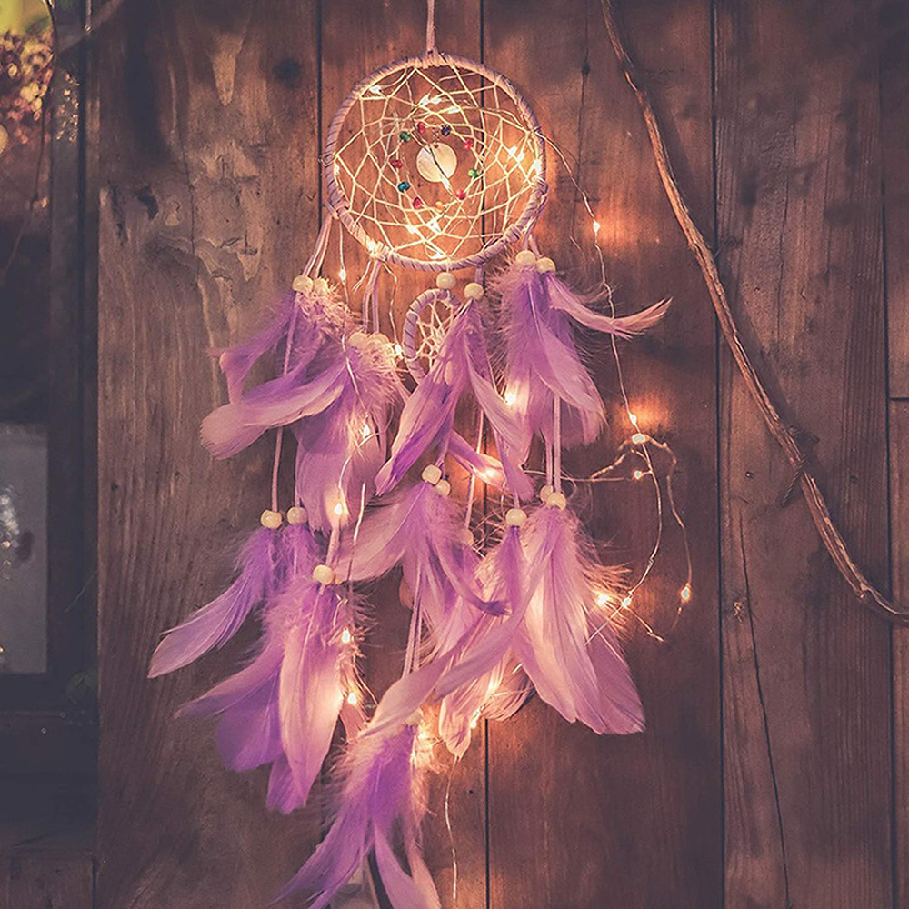 LED Dream Catcher For Bedroom Wall Hanging Decoration Home Ornament With 20 LED Light Fantasy Gift For Kid Caught Your Dream D40