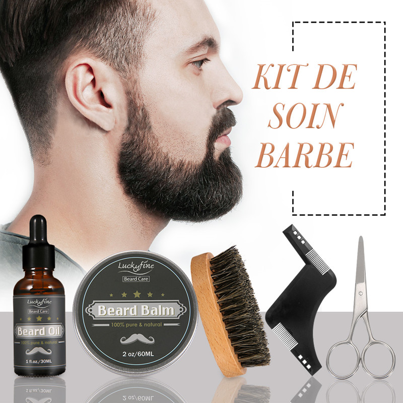 New 5 Pieces/Set Men Barba Beard Kit Grooming Styling Tool Moisturizing Wax Oil Beard Cream Style Comb Scissors Shaving Brush