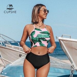 Image 1 - Cupshe folhas de chá de ervas de cintura alta conjuntos de biquíni verão sexy rendas até tanque maiô 2020 senhoras praia maiô
