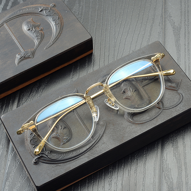 Vintage Prescription Eyeglasses Frames Ultra Light Optical Myopia Glasses Men Pure Titanium Frame Retro Reading Glasses Eyewear
