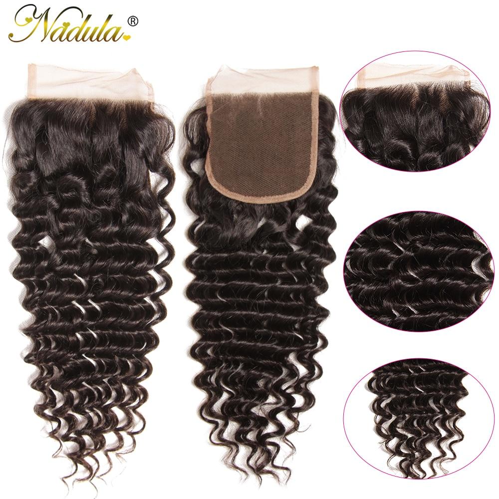 Nadula Hair  Deep Wave Closure 10-20inch  Hair s 4*4 Free Part Swiss Lace Closure  3