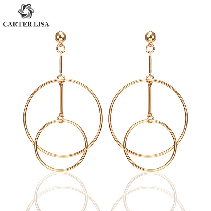 CARTER LISA Fashion Simple Geometric Alloy Drop Earrings For Women Jewelry Double Circle Dangle Earrings HLEZ3000