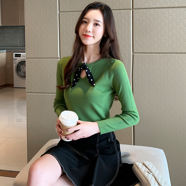 Ailegogo New Spring Women Knitted Sweater Casual Female Butterfly Collar Slim Fit Pullovers Solid Color Korean Style Knitwear 6