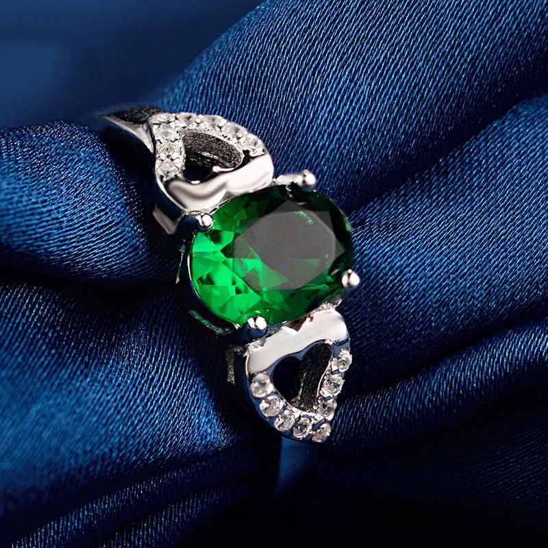 ผู้หญิงหรูหราสีเขียวรูปไข่แหวนแท้ 925 แหวนหมั้นแหวนเงิน Vintage Emerald แหวน