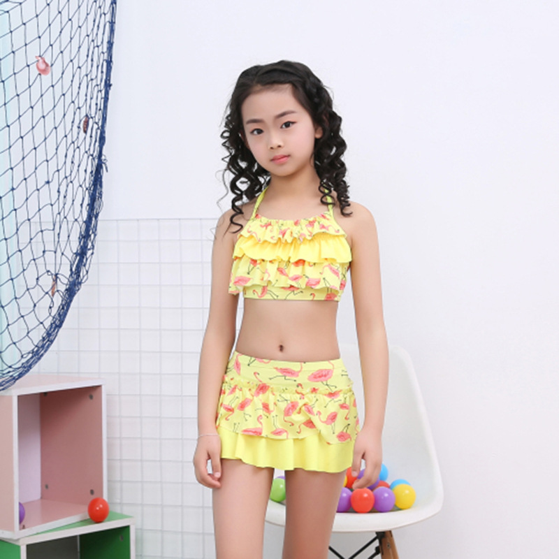 Drop Love For Water New Style Big Boy Multi-color Tour Bathing Suit Korean-style Lace-up Flounced Small Clear Girls KID'S Swimwe