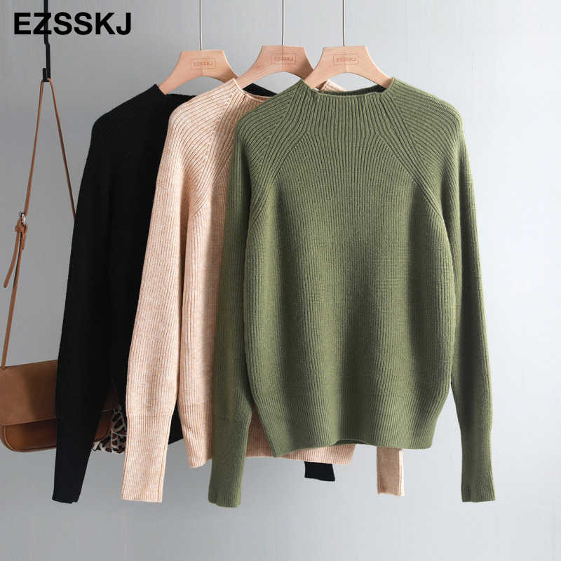 2019 casual chic thick Autumn Winter soft cashmere oversize Sweater Pullover Women warm  female loose wool Basic Sweaters