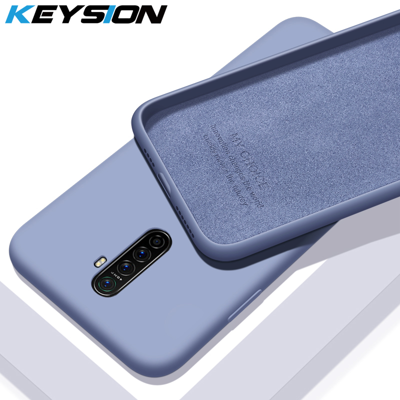 KEYSION <font><b>Liquid</b></font> Silicon <font><b>Case</b></font> for Realme X2 Pro XT Q 5 Pro Luxury Soft Rubber Back Phone <font><b>Cover</b></font> for <font><b>OPPO</b></font> A5 A9 2020 Reno 2 Reno 2 Z image