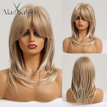 ALAN EATON Medium Wavy Synthetic Ombre Natural Blonde Ash Hair Wigs with Bangs for Women Afro Daily Lolita Cosplay Party Wig