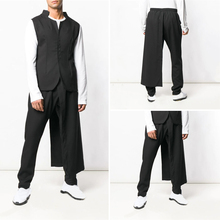 INCERUN 2020 Fashion Black Pants Men's Casual With Removable Pleated Skirt Streetwear Solid Color Straight Trousers