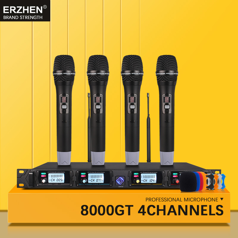 Best Professional Wireless Microphone System For Church UHF4 Channel Handheld Lapel Condenser Headset Singer Mic Studio 8000 Mic