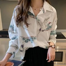 2019 New Casual Summer Autumn Women's Blouse Sexy Crane Print Single Breasted Shirt Turn-down Collar Long Sleeve Loose Blouse цены