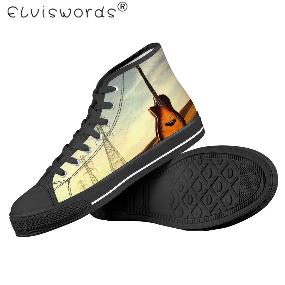 Cheap ELVISWORDS The New  Men's Vulcanized Shoes Music Guitar Printed Shoes Spring Outdoor Walk/Travel Shoes High Top Rubber Sneakers