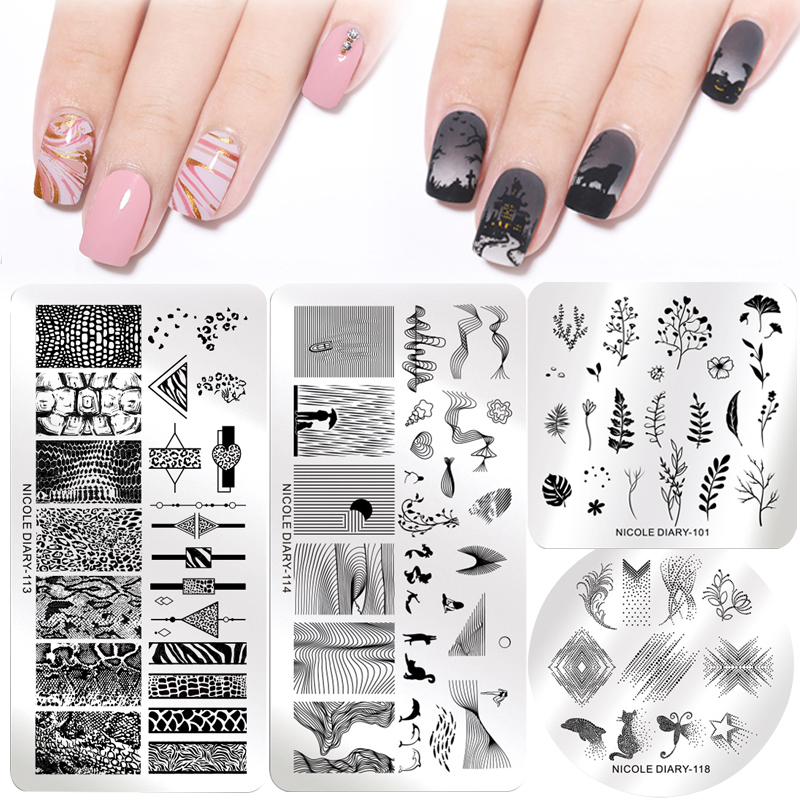 NICOLE DIARY Christmas Nail Stamping Plates Halloween Marble Flowers Image Printing Plates Geometric Stencil Nail Art Stamp Tool