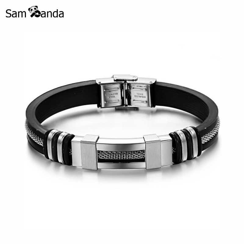 4 Color Stainless Steel Silicone Bracelet Men Jewelry WristBand Punk Style New Design Men Bracelet Rubber Charm Pulsera Hombre