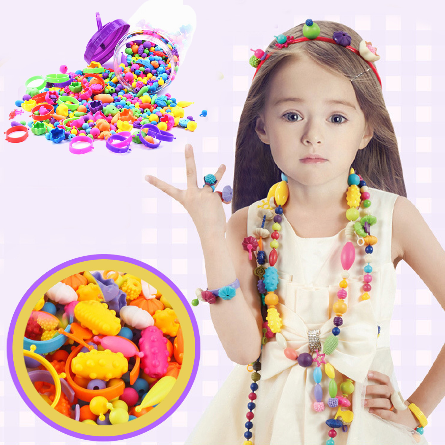 Besegad 260Pcs Colorful Fashion Assorted Shapes Plastic Pop Snap Beads Set Kids Girls DIY Bead Toys Gift Bracelets Manual Making