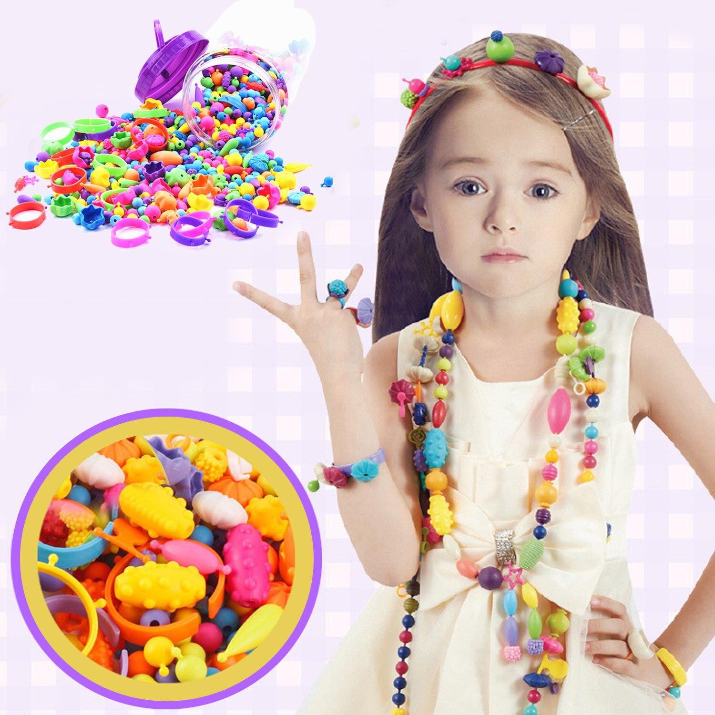 Besegad 260Pcs Colorful Fashion Assorted Shapes Plastic Pop Snap Beads Set Kids Girls DIY Bead Toys Gift Bracelets Manual Making