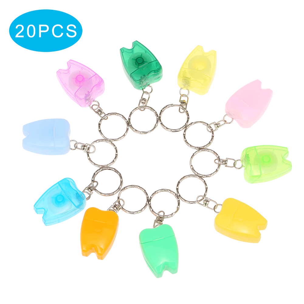 Teeth Cleaning Dental Floss Oral Care Tooth Cleane Tooth Shape Key Chain Oral Hygiene Supplies Dental Flosser Tooth Cleaner