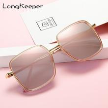 LongKeeper New Metal Square Flat Mirror Sunglasses Women Round Face Lady Sun Glasses Vintage Big Frame Female UV400