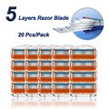 Manual Shaving Razor Blades For Men 5 Layers Stainless Steel Replacement Heads Fit Gillette Fusion 5 Straight Shaving Cassettes