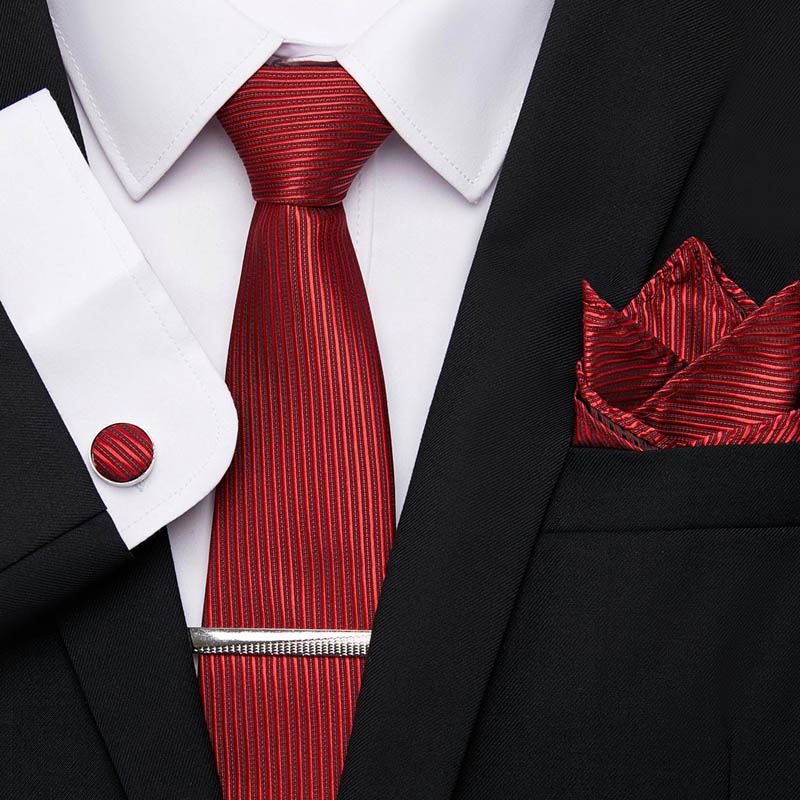 Mens Tie Handkerchief Cufflinks Tie Clips Set New Jacquard Woven 100%Silk 7.5cm Striped Ties For Men Suit Business Wedding 12601